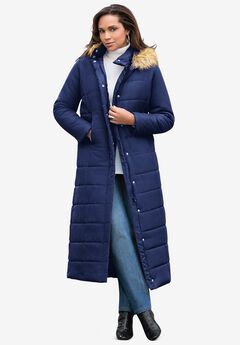 Maxi-Length Puffer Jacket with Hood, EVENING BLUE