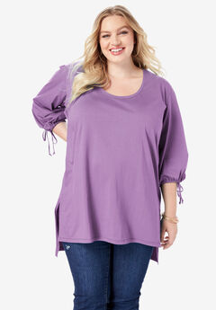 Tie-Sleeve Ultimate Tunic with High-Low Hem, DUSTY LAVENDER