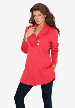 Thermal Shawl-Collar Tunic,