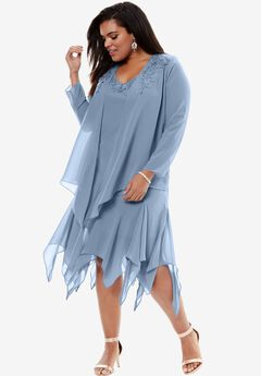 Beaded Jacket Dress, BLUE CLOUD