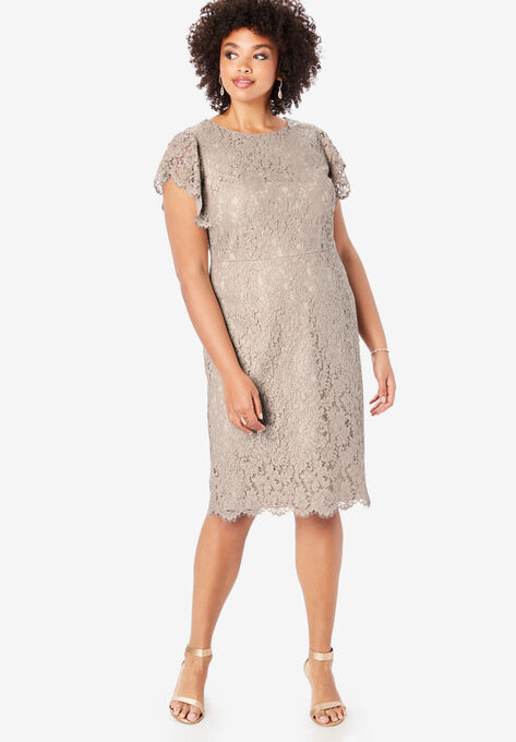 Lace Sheath Dress with Flutter Sleeves