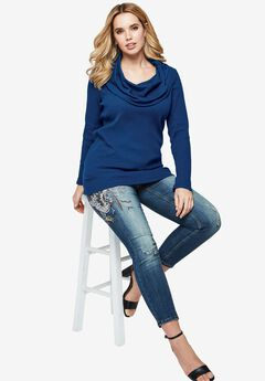 Thermal Cowl Neck Tunic, EVENING BLUE, hi-res