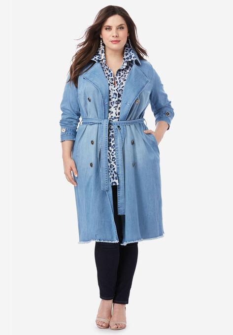 Denim Trench Coat| Plus Size Trench & Raincoats | Roaman\'s