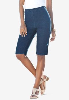 Pull-On Stretch Bermuda Jean Short by Denim 24/7®, MEDIUM STONEWASH
