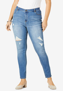 Skinny Jean By Denim 24/7®, MEDIUM WASH DISTRESSED