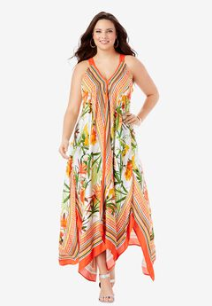Scarf-Print Maxi Dress,