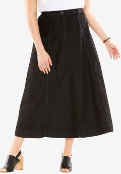 A-line Denim Skirt, BLACK DENIM, hi-res