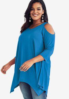 Cold Shoulder Linen Blend Tunic, CORNFLOWER BLUE, hi-res