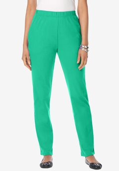 Straight-Leg Soft Knit Pant, TROPICAL EMERALD