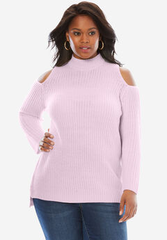 Cold Shoulder Mockneck Sweater, PASTEL ORCHID, hi-res