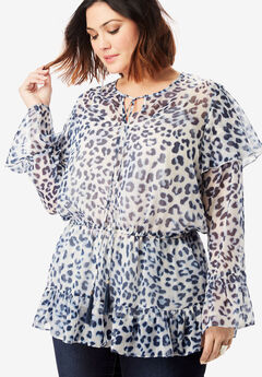 Ruffle Keyhole Tunic with Bell Sleeves, BLUE ANIMAL PRINT