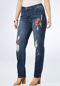 Embroidered Distressed Boyfriend Jean,