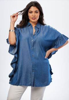 Poncho Tunic with Ruffles,