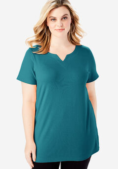 Notch Neck Tunic, BLUE CORAL