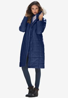 Mid-Length Quilted Parka with Hood, EVENING BLUE