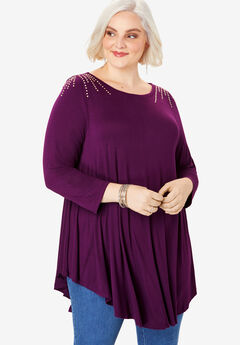 Boatneck Swing Drape Tunic with Bracelet Sleeves, DARK BERRY RHINESTONE