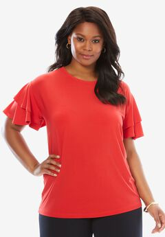 Scoopneck Ruffle-Sleeve Top, HOT RED, hi-res