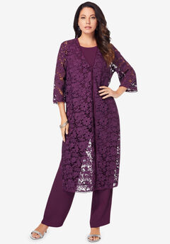 Three-Piece Lace Duster & Pant Suit,