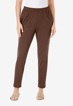 Ankle-Length Soft Knit Pant, RICH BROWN