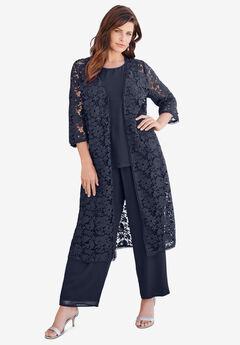 Three-Piece Lace Duster & Pant Suit, NAVY