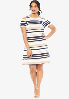 Cold Shoulder Stripe Dress, MULTI STRIPE, hi-res