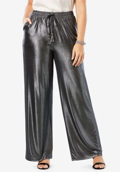 Metallic Wide-Leg Pant,
