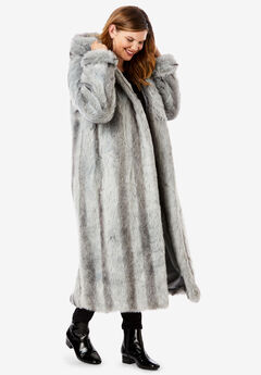 Full Length Faux-Fur Coat with Hood, CHINCHILLA