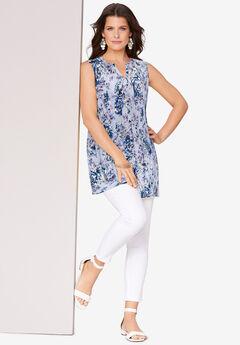 Sleeveless English Floral Big Shirt, BLUE WATERCOLOR PEONY