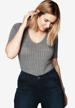 Ribbed V-Neck Bodysuit, MEDIUM HEATHER GREY, hi-res