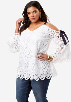 Eyelet Cold Shoulder Top, WHITE, hi-res