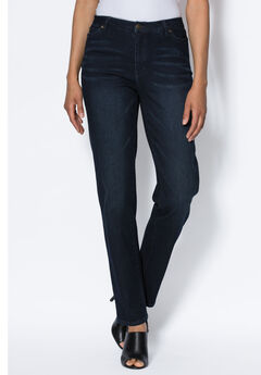 Straight Leg Jean with Invisible Stretch® by Denim 24/7®, INDIGO SANDED, hi-res