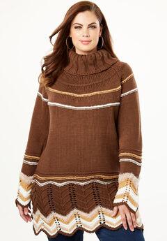Chevron Border Pullover Sweater, BROWN COMBO
