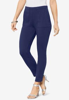 Ankle-Length Soft Knit Pant, NAVY