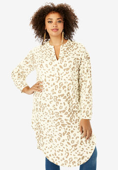 Georgette Pullover Ultra Tunic with High-Low Hem, IVORY ANIMAL