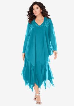Sequin Jacket Dress Set, DEEP TURQUOISE