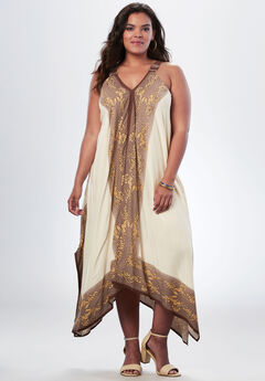 Scarf Print Maxi Dress By Denim 24/7, NEW OATMEAL PRINT