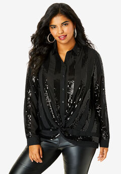 Knot-Front Blouse, BLACK SEQUIN