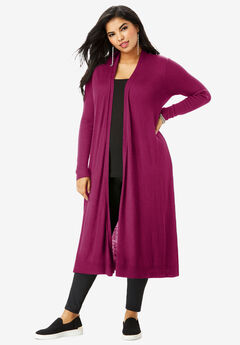Fine Gauge Duster Cardigan With Shawl Collar,