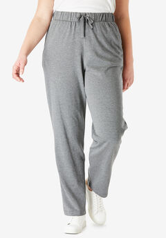 Straight Leg French Terry Pant with Drawstring, MEDIUM HEATHER GREY