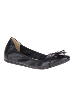 Heather Tassel Flats by Hush Puppies®, BLACK LEATHER, hi-res