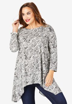Handkerchief Hem Ultimate Tunic, GREY SNAKE PRINT