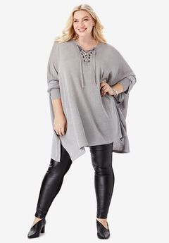 Metallic Pullover Poncho with Lace-Up Neck, SILVER SHIMMER