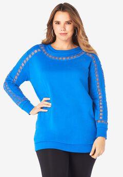 Ladder-Stitch Sweatshirt, VIVID BLUE