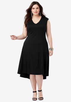 Ultimate Ponte Fit & Flare Dress with High-Low Hem,