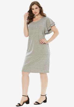 Ruffle-Sleeve Dress,
