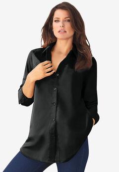 Long-Sleeve Kate Shirt, BLACK