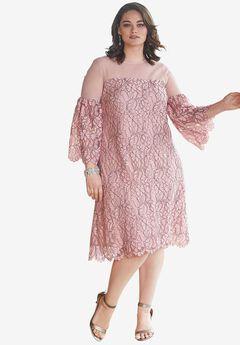 Illusion Bell-Sleeve Dress,