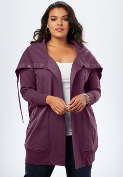 Snap-Collar French Terry Jacket, WINTER PLUM, hi-res