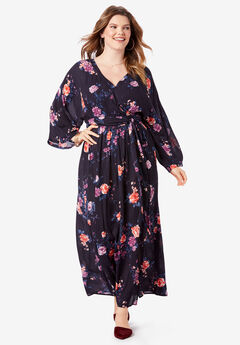 Crinkle Belted Maxi Dress, MIXED FLOWERS