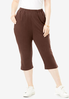 Soft Knit Capri Pant, RICH BROWN